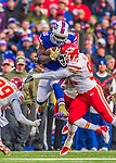 9 November 2014: Buffalo Bills running back Anthony Dixon breaks tackles for a 27 yard gain against the Kansas City Chiefs in the third quarter at Ralph Wilson Stadium in Orchard Park, NY. The Chiefs rallied with two fourth quarter touchdowns to defeat the Bills 17-13. Mandatory Credit: Ed Wolfstein Photo *** RAW (NEF) Image File Available ***