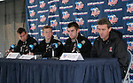 10 December 2005: Head coach Sasho Cirovski (r) answers a question as his players listen, (from left) Chris Lancos, Michael Dello-Russo, Jason Garey. The University of Maryland Terrapins held a press conference the day before playing in the NCAA Men's College Cup, the Division I Championship soccer game, at SAS Stadium in Cary, NC..