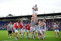 Dave Attwood of Bath Rugby wins the ball at a lineout during the pre-match warm-up. Pre-season friendly match, between Leinster Rugby and Bath Rugby on August 26, 2016 at Donnybrook Stadium in Dublin, Republic of Ireland. Photo by: Patrick Khachfe / Onside Images