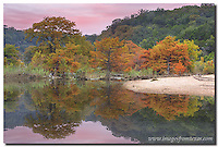 A still morning and beautiful colors allowed me to photograph this image of November cypress in the Texas Hill Country. This Pedernales Falls image was taken with a telephoto lens as the milder weather moved into the area. Landscapes such as this are common in the heart of the central Texas hills.