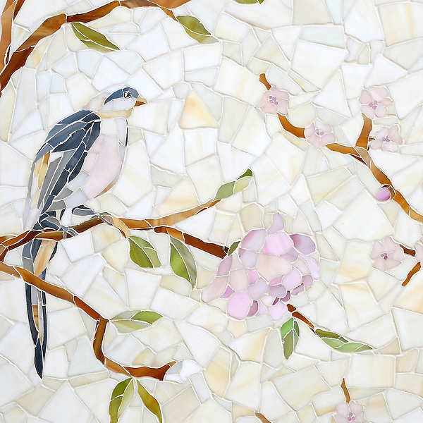 Chinoiserie, a handmade mosaic shown in Emerald, Tourmaline, Labradorite, Opal, Tiger's Eye, Amber, Peridot, Champagne, Rose Quartz, and Pearl jewel glass with Quartz Sea Glass™, is part of the Sea Glass™ Collection by Sara Baldwin for New Ravenna.