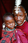 Maasai tribesman and son, Tanzania