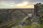 Idaho, South Central, Twin Falls. The Perrine bridge over the Snake River Canyon.