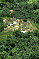 Africa, Liberia, Kpelle Tribe: aerial view of village in rainforest.