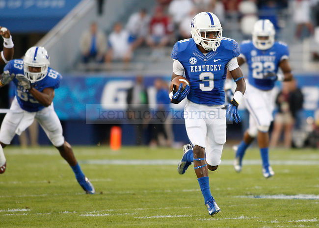 Kentucky Wildcats defensive back Fred Tiller (3) runs with the ball at the University of Kentucky football vs.  South Carolina at Commonwealth Stadium in Lexington, Ky., on Saturday, September 29, 2012. Photo by Tessa Lighty | Staff