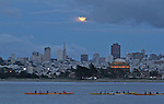 The April full moon rose over the San Francisco Transamerican Pyramid as seen Crissy Field., SF., CA.