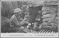 BNPS.co.uk (01202 558833)<br /> Pic:AmberleyPublishing/BNPS<br /> <br /> ***Please Use Full Byline***<br /> <br /> Soldiers eating in the trenches. <br /> <br /> A cookbook for WWI soldiers has been published for the first time in 100 years revealing the surprising recipes that British Tommies lived on in the trenches.<br /> <br /> Hundreds of thousands of troops were armed with The British Army Cook Book as they headed to off war in 1914.<br /> <br /> The book contained detailed instructions on how to rustle up mouth-watering menus to feed entire platoons using meagre war-time rations.<br /> <br /> The dishes might sound tempting but in reality those on the frontlines would have had to rely more on powdered foods because fresh produce often took too long to reach them.<br /> <br /> The 1914 British Army Cook Book has been reprinted by Amberley Publishing for the first time since it was first issued 100 years ago.<br /> <br /> It is on sale now for &pound;9.99.