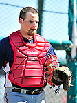 1 March 2010: Washington Nationals' catcher Derek Norris finishes a round of BP catching during Spring Training at the Carl Barger Baseball Complex in Viera, Florida. Mandatory Credit: Ed Wolfstein Photo