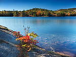 Beautiful fall nature scenery of Acid lake at Killarney Provincial Park, Ontario, Canada