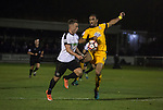 Dover Athletic 2 Cambridge United 4, 17/11/2016. The Crabble, FA Cup first round replay. Home team striker Ricky Miller in action at the Crabble as National League Dover Athletic (in white) hosted League 2 Cambridge United in an FA Cup first round replay. The club was founded in 1983 after the dissolution of the town's previous club Dover FC, whose place in the Southern League was taken by the new club. Cambridge United won the tie by 4-2 after extra time, watched by a crowd of 1158. Photo by Colin McPherson.