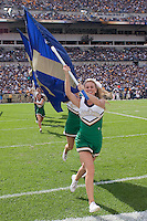 Notre Dame cheerleaders.The Notre Dame Fighting Irish defeated the Pitt Panthers 15-12 at Heinz field in Pittsburgh, Pennsylvania.
