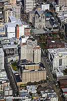aerial photograph Nob Hill San Francisco  Grace Cathedral and Mark Hopkins Intercontinental hotel