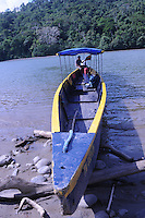Motorized canoe that transported us down the Rio Napo thru the jungle from Chantapunta, Ecuador