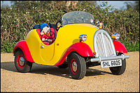 BNPS.co.uk (01202 558833)<br /> Pic: PhilYeomans/BNPS<br /> <br /> An elderly couple have put their incredible replica of Noddy's yellow and red car up for sale - because they have grown too old for it.<br /> <br /> Young-at-heart Geoffrey Hearn bought the delightful little motor, made famous by children's author Enid Blyton, for his Noddy-loving wife Sheila in 2012.<br /> <br /> It had been crafted from a 1977 Reliant Kitten car.<br /> <br /> The couple have spent the last five years enjoying their own adventures in the toy-like motor, mainly showing it off at exhibitions.<br /> <br /> They are now selling it for &pound;12,000 at Charterhouse Auctions of Dorset.