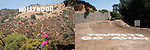 Two views of the Hollywood Sign, Los Angeles, California, August 19, 2011.