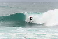 Sunset Beach, Oahu, HAWAII: (Wednesday, December 2, 2015): Gabriel Medina (BRA)  winning is heat today with a massive floater on the bowl section. Wave built during the day at the Vans World Cup of Surfing with wave heights reaching 10 - 12ft later in the day. Round 3 was completed with some big scores handsome big names being knocked out.   Photo: joliphotos.com