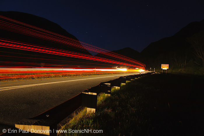 Franconia Notch Parkway during the night in Franconia Notch State Park of the New Hampshire White Mountains.