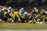 PITTSBURGH, PA - JANUARY 23: Ben Roethlisberger #7 of the Pittsburgh Steelers is tackled in the end zone by Mike DeVito #70 of the New York Jets for a safety in the AFC Championship Playoff Game at Heinz Field on January 23, 2011 in Pittsburgh, Pennsylvania(Photo by: Rob Tringali) *** Local Caption *** Ben Roethlisberger;Mike DeVito