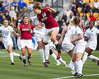 Stanford University plays Duke University in the NCAA Division I soccer finals.  Stanford won 1-0 on a goal in the second half by Teresa Noyola (7).