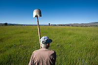 Bill Trampe, a third-generation Gunnison rancher, moves irrigation water off of hay fields near his family's farmstead outside Gunnison, Colo.