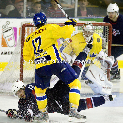 Lee Stempniak (USA 12 - St. Louis Blues/Dartmouth College), Karl Fabricius (Sweden 12 - Frolunda HC) - Team USA defeated Team Sweden 5-1 on Sunday, April 27, 2008, in an exhibition match at the Cumberland County Civic Center in Portland, Maine, prior to the 2008 World Championships.