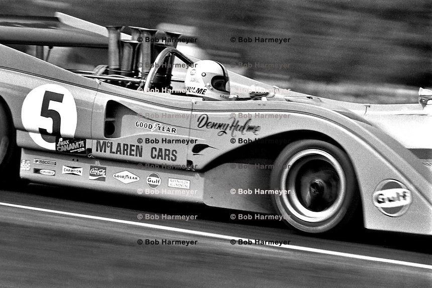 LEXINGTON, OH - AUGUST 22: Denis Hulme of New Zealand drives his McLaren M8F 2/Chevrolet during the SCCA Can-Am race at the Mid-Ohio Sports Car Course near Lexington, Ohio, on August 22, 1971.