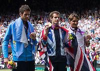 ..Tennis - OLympic Games -Olympic Tennis -  London 2012 -  Wimbledon - AELTC - The All England Club - London - Sunday 5th August  2012. .© AMN Images, 30, Cleveland Street, London, W1T 4JD.Tel - +44 20 7907 6387.mfrey@advantagemedianet.com.www.amnimages.photoshelter.com.www.advantagemedianet.com.www.tennishead.netAndy Murray, Roger Federer, Juan Martin Del Potro..Tennis - OLympic Games -Olympic Tennis -  London 2012 -  Wimbledon - AELTC - The All England Club - London - Sunday 5th August  2012. .© AMN Images, 30, Cleveland Street, London, W1T 4JD.Tel - +44 20 7907 6387.mfrey@advantagemedianet.com.www.amnimages.photoshelter.com.www.advantagemedianet.com.www.tennishead.net