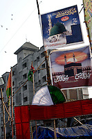 Posters celebrating Ramadan can be seen in front of one of the new blocks of flats that developers are building on 21st Oct 2006.