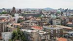 View of Belgrade from the top of the Politica newspaper building. Left: St. Marks Cathedral, right horizon: Avala tower and peak, right: National Assembly and St. Sava Cathedral<br /> <br /> Belgrade, Serbia