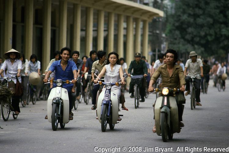 Rush hour traffic in Hanoi, North Vietnam.  (Jim Bryant Photo).....