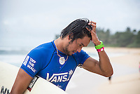 Sunset Beach, Oahu, HAWAII: (Wednesday, December 2, 2015): Connor O'Leary (AUS), who is on the verge of quailifying for the 2016 World Tour, after losing his heat today. Wave built during the day at the Vans World Cup of Surfing with wave heights reaching 10 - 12ft later in the day. Round 3 was completed with some big scores handsome big names being knocked out.   Photo: joliphotos.com