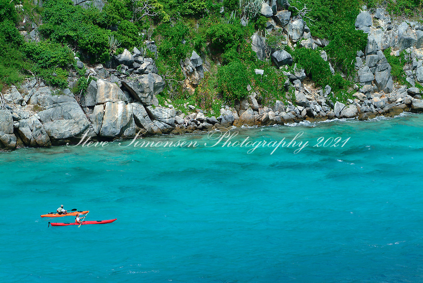Aerial view of Arawak Expeditions kayakers<br /> Congo Cay.<br /> US Virgin Islands