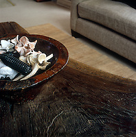 A detail of the living room showing the surface of a wooden West African bed used as a coffee table and a bowl displaying a collection of bleached vertebrae