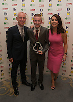 03/06/2014  <br /> Adam Horgan who recieved the Outstanding Braveryaward from  Ray D&rsquo;Arcy &amp; Mairead Farrell<br /> during the Pride of Ireland awards at the Mansion House, Dublin.<br /> Photo: Gareth Chaney Collins
