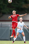 16 September 2016: NC State's Ricarda Walkling (GER) (7) and North Carolina's Hannah Gardner (71). The University of North Carolina Tar Heels hosted the North Carolina State University Wolfpack in a 2016 NCAA Division I Women's Soccer match. NC State won the game 1-0.