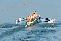Brest, Belarus.  GBR M4X. Bow John COLLINS, Jonathan WALTON, Nicholas MIDDLETON and Jack HOCKLEY, at the start.  2010. FISA U23 Championships. Friday,  23/07/2010.  [Mandatory Credit Peter Spurrier/ Intersport Images]