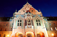 Art Nouveau (Sezession) City Hall designed by Lechner Ödön with Zolnay tiles at night, Hungary Kecskemét
