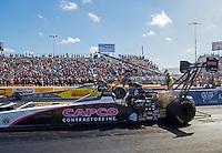 Oct 16, 2016; Ennis, TX, USA; NHRA top fuel driver Steve Torrence (near) alongside Shawn Langdon during the Fall Nationals at Texas Motorplex. Mandatory Credit: Mark J. Rebilas-USA TODAY Sports