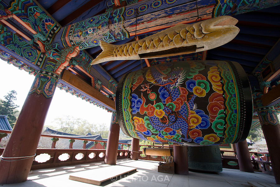 Songgwangsa temple. Dragon- and fish drums.