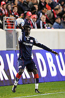Emmanuel Osei (5) of the New England Revolution. The New York Red Bulls defeated the New England Revolution 2-0 during a Major League Soccer (MLS) match at Red Bull Arena in Harrison, NJ, on October 21, 2010.