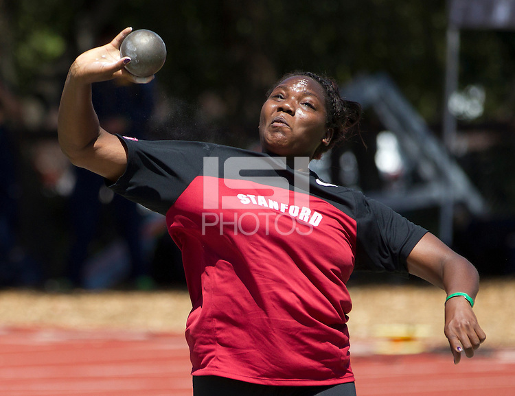 Stanford, CA., April 20, 2013,--Stanford's Shavana Talbert throws the shot put at the 119 Big Meet at Cobb Track and Angell Field at Stanford University.