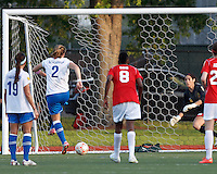 Boston Breakers forward Katie Schoepfer (2) scores second of three goals on a penalty kick. In a Women's Premier Soccer League Elite (WPSL) match, the Boston Breakers defeated Western New York Flash, 3-2, at Dilboy Stadium on May 26, 2012.