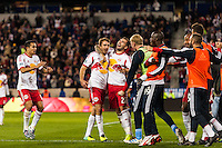 Eric Alexander (12) of the New York Red Bulls celebrates scoring with Jonny Steele (22) during the second half against the Chicago Fire. The New York Red Bulls defeated the Chicago Fire 5-2 during a Major League Soccer (MLS) match at Red Bull Arena in Harrison, NJ, on October 27, 2013.