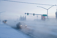 Vehicle traffic on College Road in Fairbanks, Alaska in minus 47 degree temperatures.