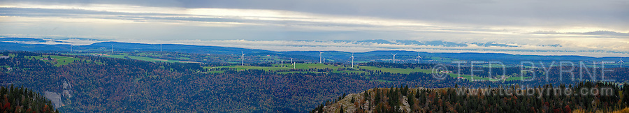 Panoramic landscape of Mont Soleil wind farm in the Jura mountains, Switzerland<br />