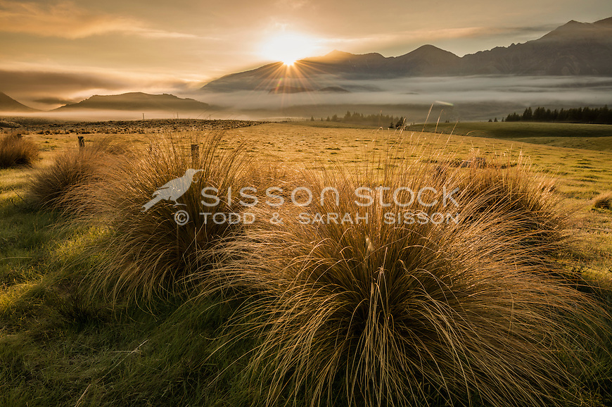 Hill Country Farming, Canterbury, New Zealand - stock photo, canvas, fine art print