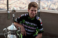 Monster Energy AMA Supercross world Championship Rider Adam Cianciarulo Visits The Empire State Building in New York , April 23, 2014. VIEWPRESS/Kena Betancur