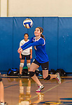 18 October 2015: Yeshiva University Maccabee Outside Hitter, Setter and team co-Captain Shana Wolfstein, a Senior from Burlington, VT, bumps during game action against the College of Mount Saint Vincent Dolphins at the Peter Sharp Center, in Riverdale, NY. The Dolphins defeated the Maccabees 3-0 in the NCAA Division III Women's Volleyball Skyline matchup. Mandatory Credit: Ed Wolfstein Photo *** RAW (NEF) Image File Available ***