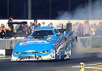 Nov 11, 2016; Pomona, CA, USA; NHRA funny car driver John Force during qualifying for the Auto Club Finals at Auto Club Raceway at Pomona. Mandatory Credit: Mark J. Rebilas-USA TODAY Sports