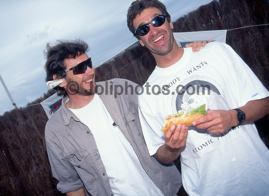 Wayne Lynch (AUS) and Barton Lynch (AUS), Biarritz, France. 1995.photo:  joliphotos.com
